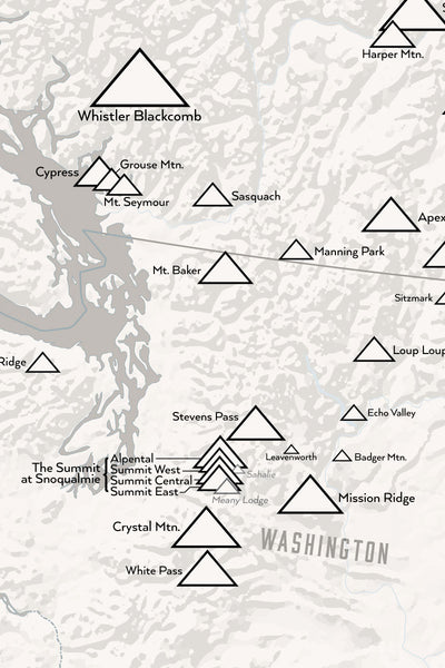 Western Ski Resorts Map Poster - white & gray