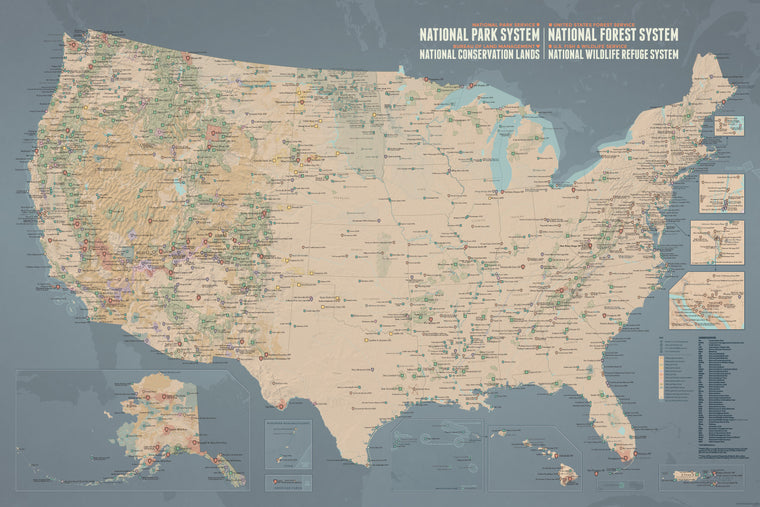 NPS x USFS x BLM x FWS Interagency Map Poster - tan & slate blue