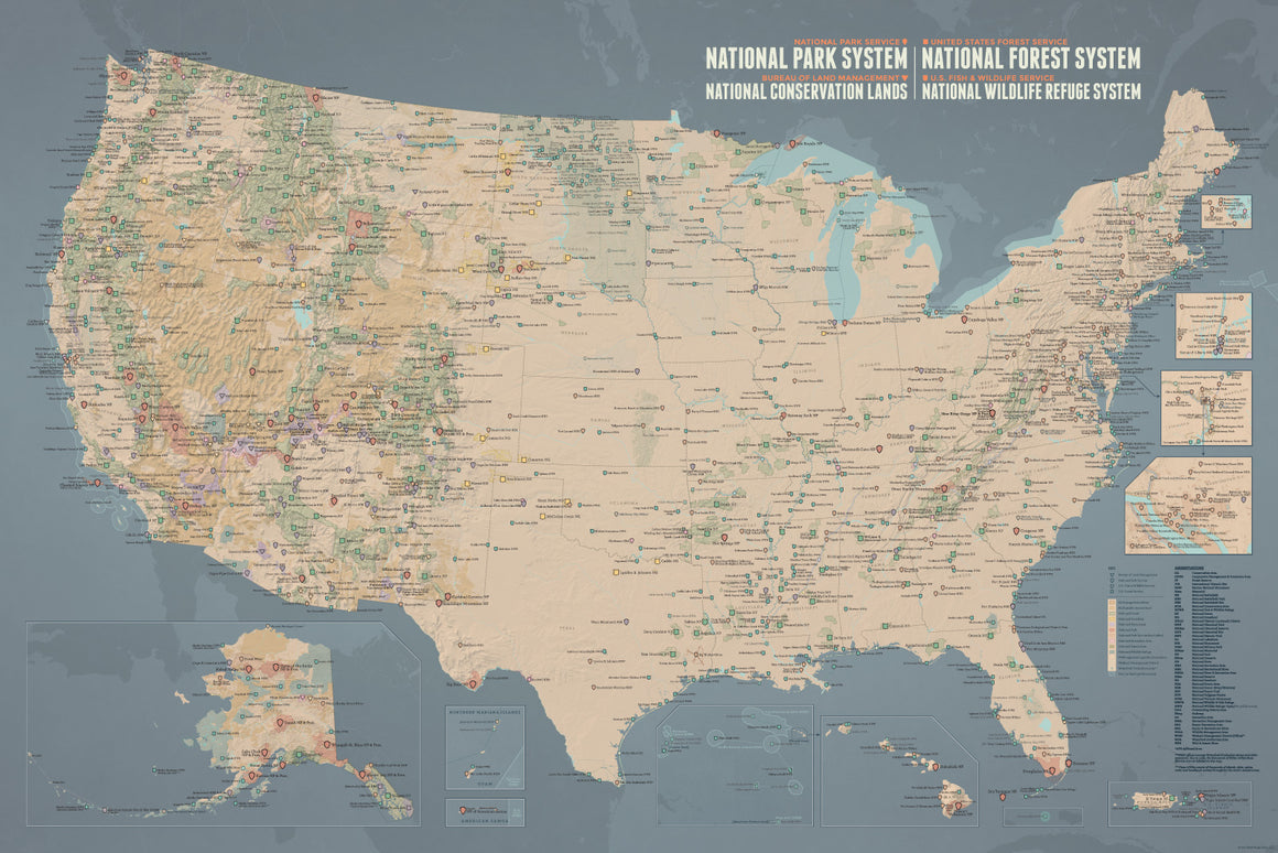 NPS x USFS x BLM x FWS Interagency Map 24x36 Poster