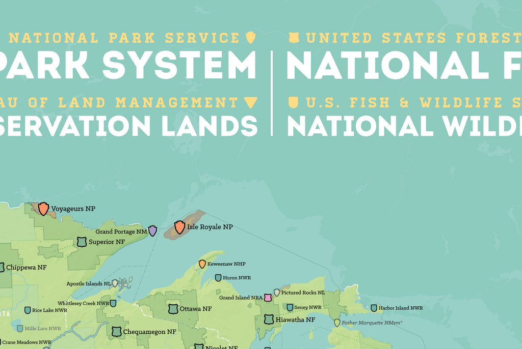 NPS x USFS x BLM x FWS Interagency Map Poster - green & aqua
