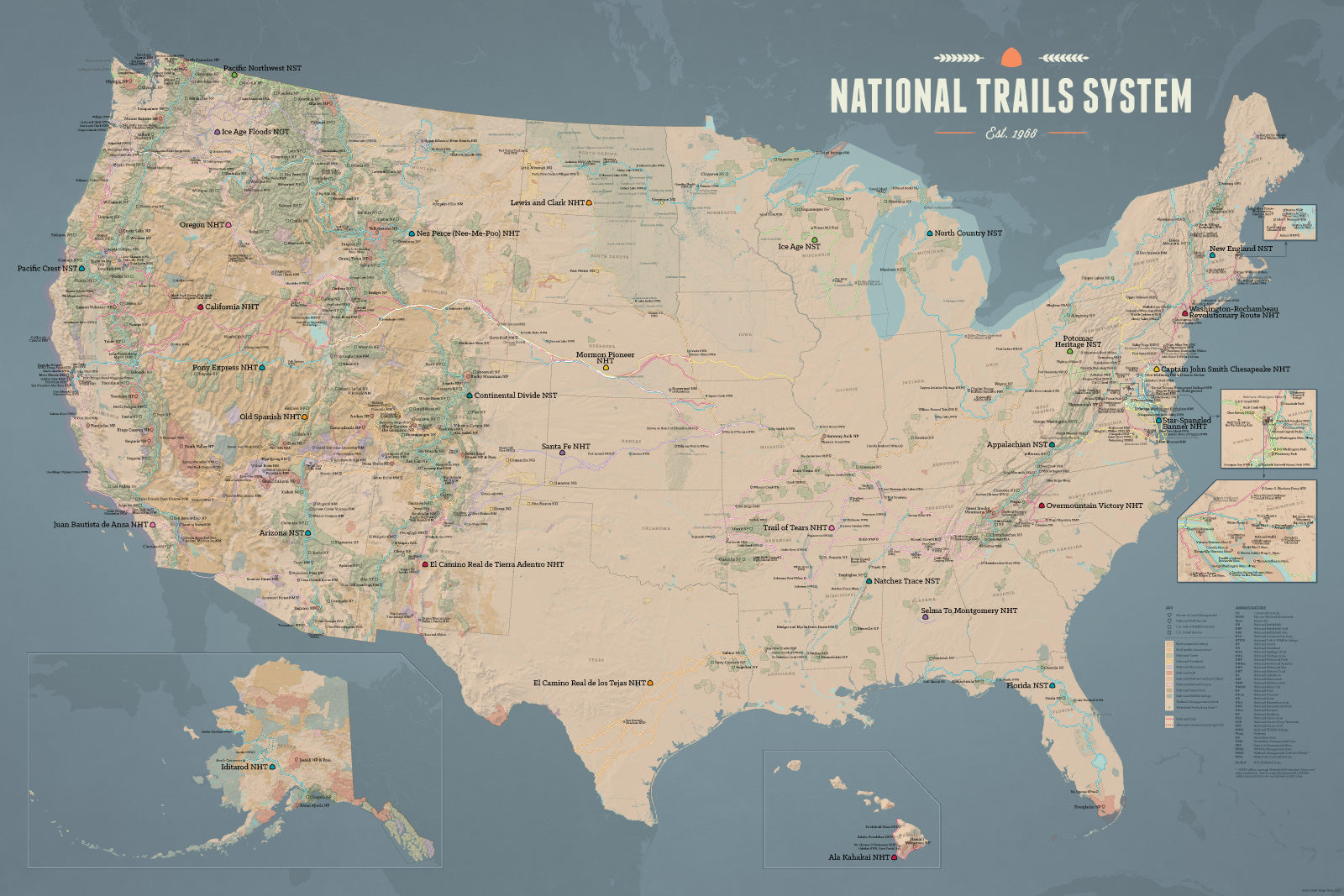 usa national trails system map poster tan slate blue