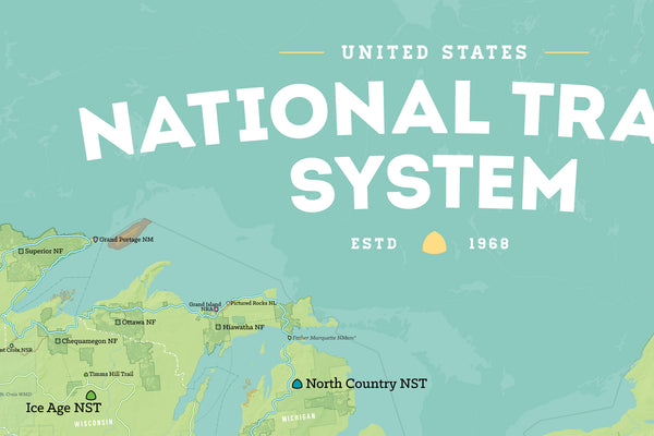USA National Trails System Map Poster - green & aqua