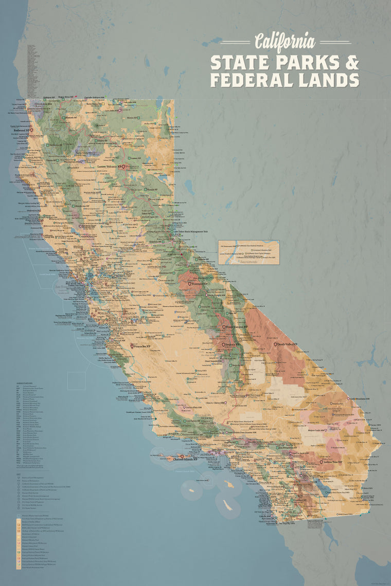 California State Parks & Federal Land Map Poster - camel & slate blue