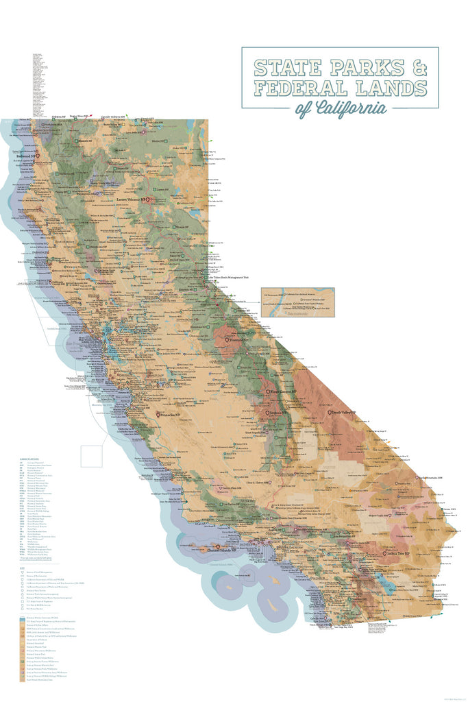 California State Parks & Federal Land Map Poster - camel & white