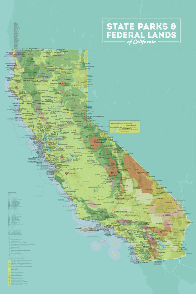 California State Parks & Federal Land Map Poster - green & aqua