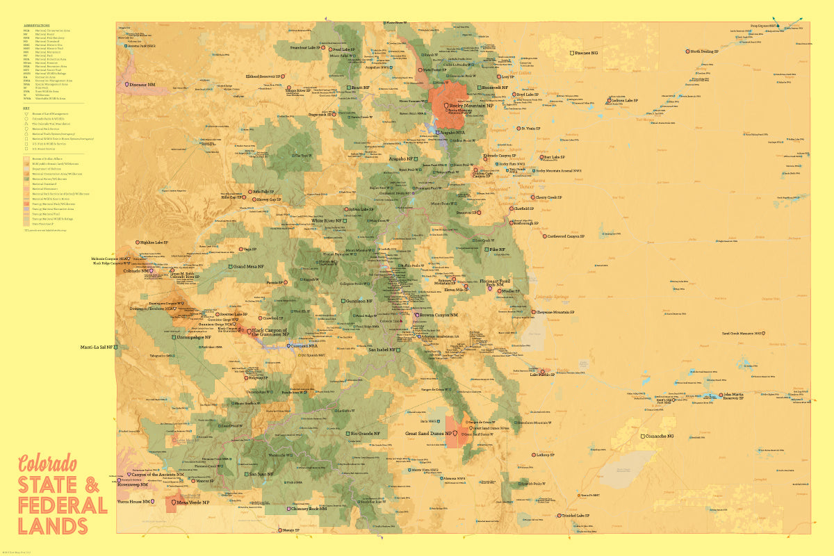 Colorado State Parks Federal Lands Map X Poster Best Maps Ever - Colorado state map