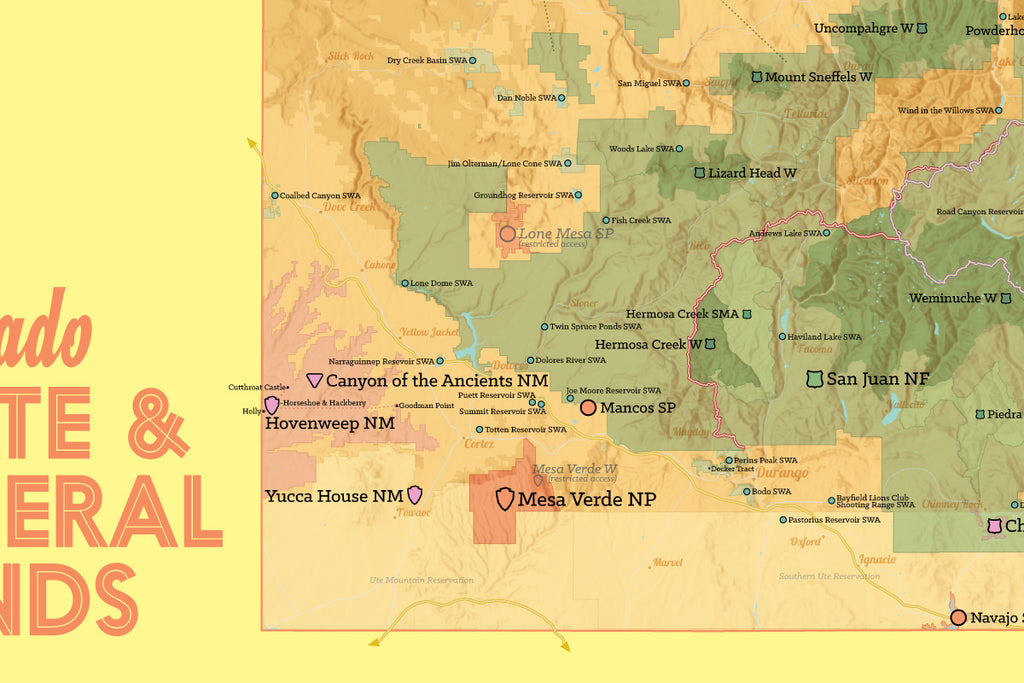 Colorado State Parks & Federal Lands map poster - cream & yellow