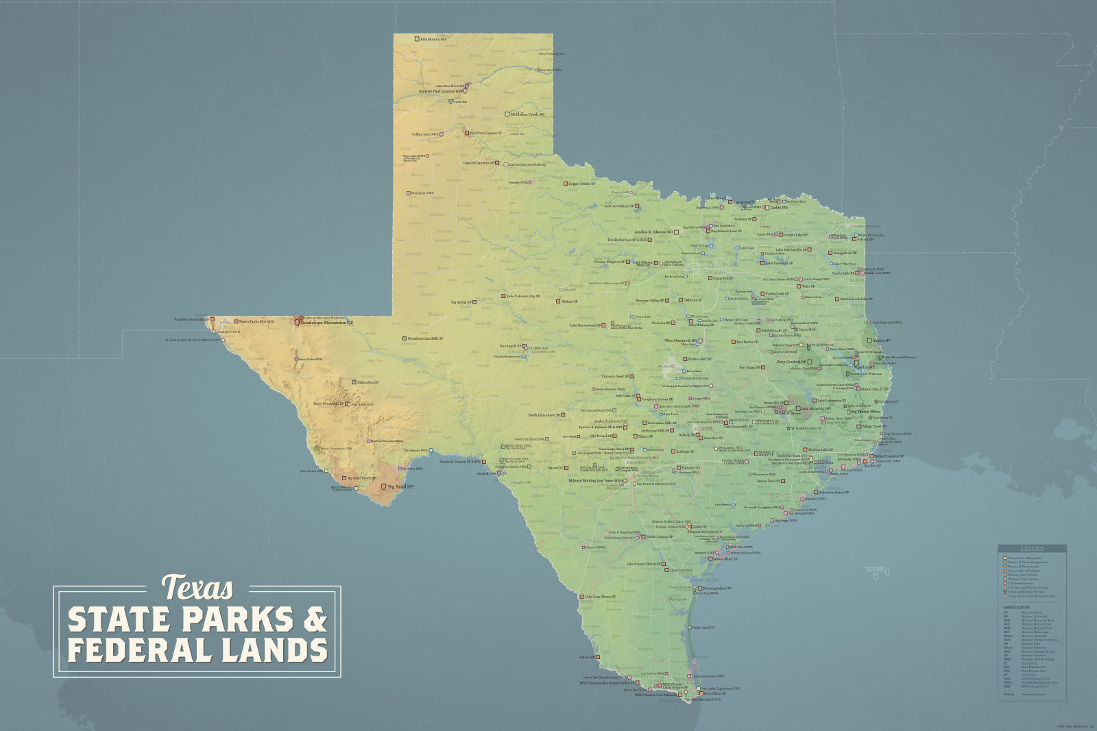 Texas State Parks & Federal Lands Map 24x36 Poster - Best ...