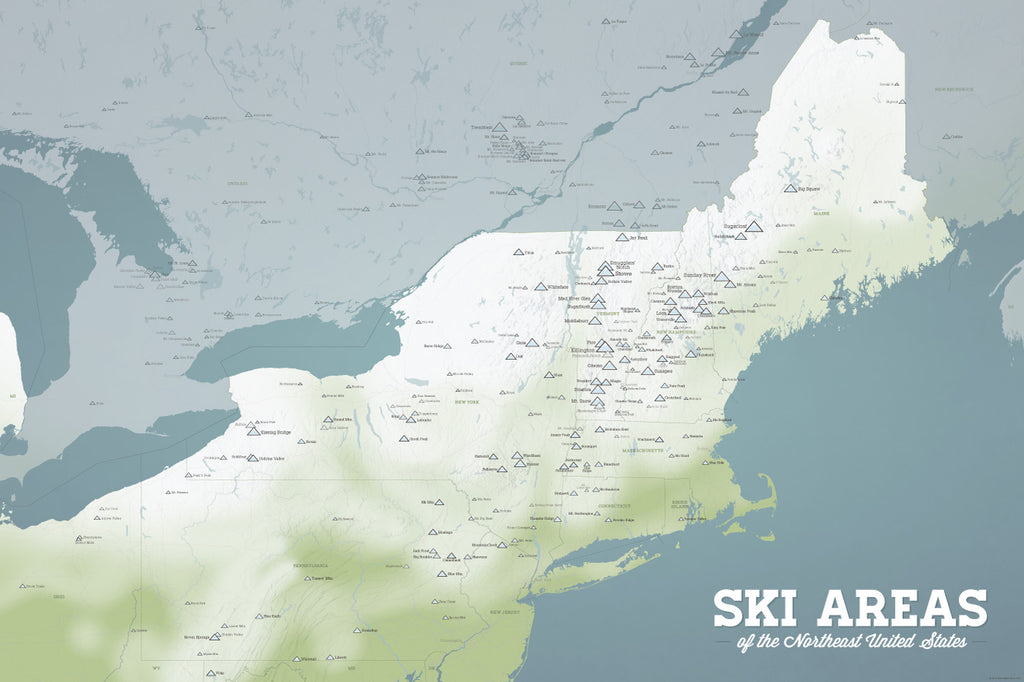 Northeast Ski Areas Resorts Map Poster - Natural Earth
