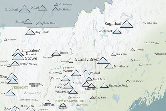 Northeast Ski Resorts Map Poster - Natural Earth