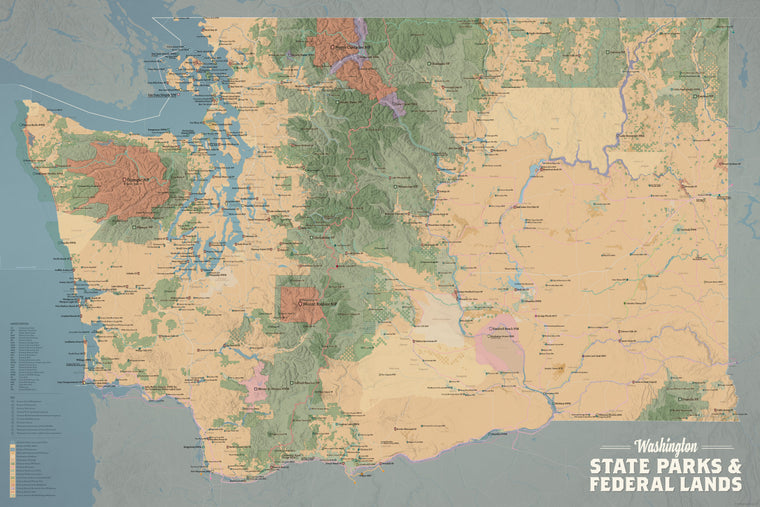 Washington State Parks & Federal Lands Map Poster - camel & slate blue
