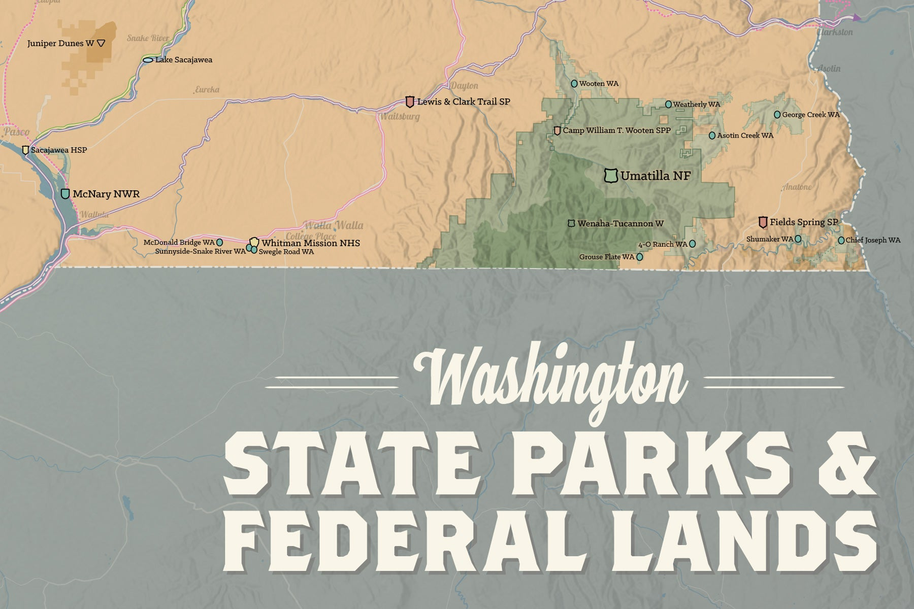 Washington state parks federal lands map 24x36 poster best maps ever washington state parks federal lands map poster camel slate blue gumiabroncs Choice Image