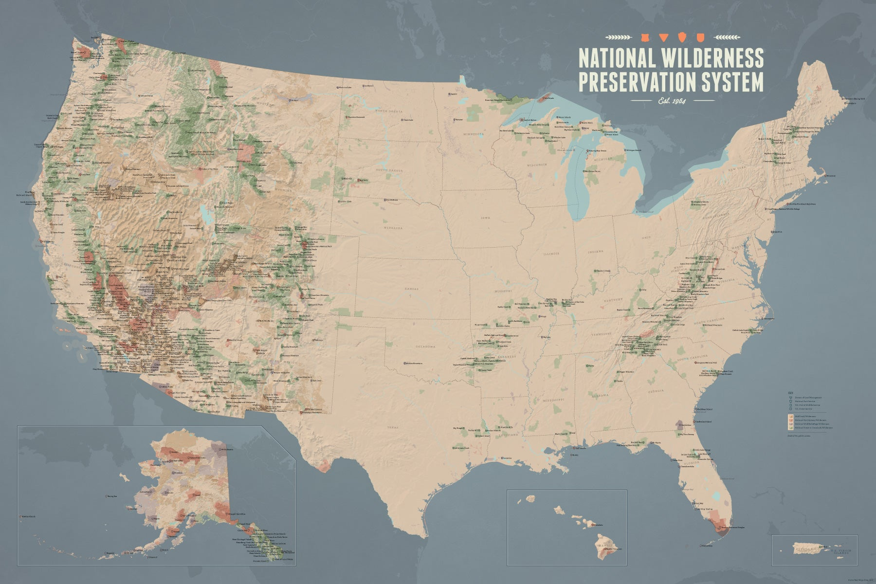 Us Wilderness Areas Map US National Wilderness Preservation System Map 24x36 Poster   Best