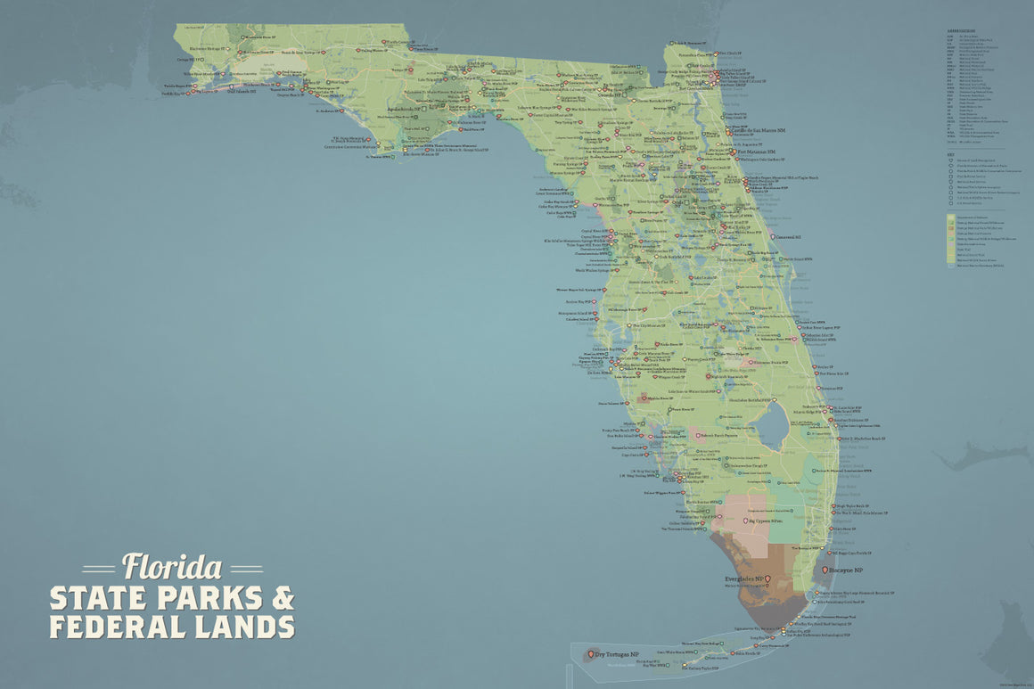 Florida State Parks & Federal Lands Map Poster - natural earth