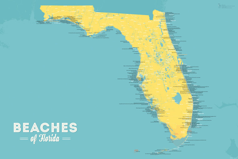 Florida Beaches Map Poster - marigold & turquoise