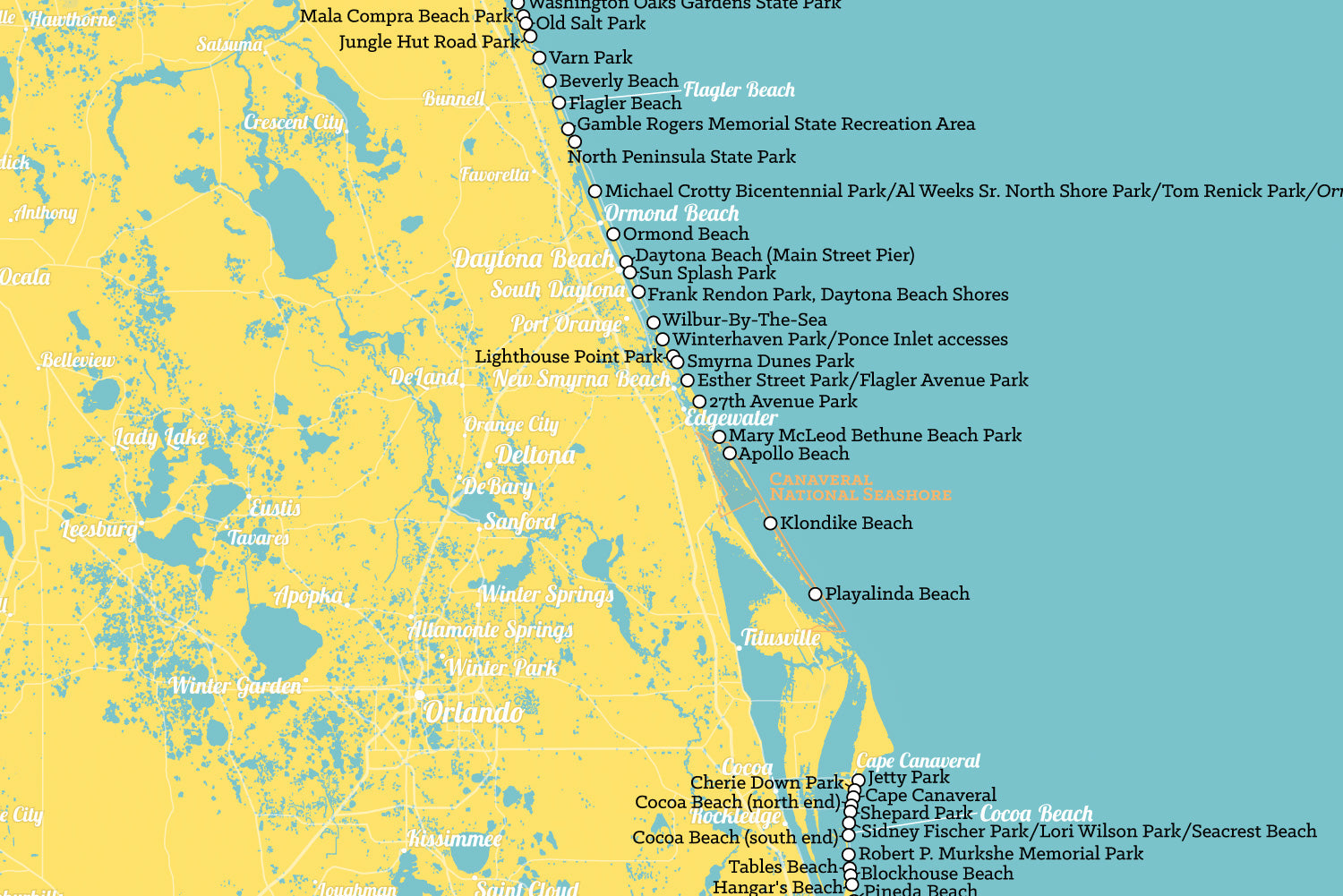 North Florida Beaches Map.Florida Beaches Map 24x36 Poster