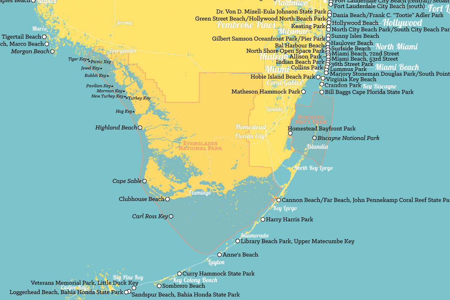 Florida Beaches Map 24x36 Poster - Best Maps Ever