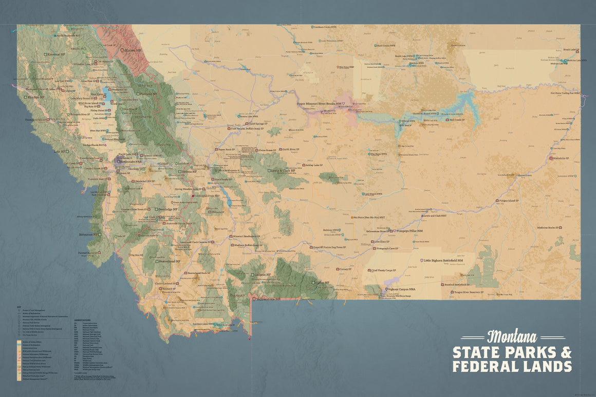Montana State Parks & Federal Lands Map Poster - tan & slate blue