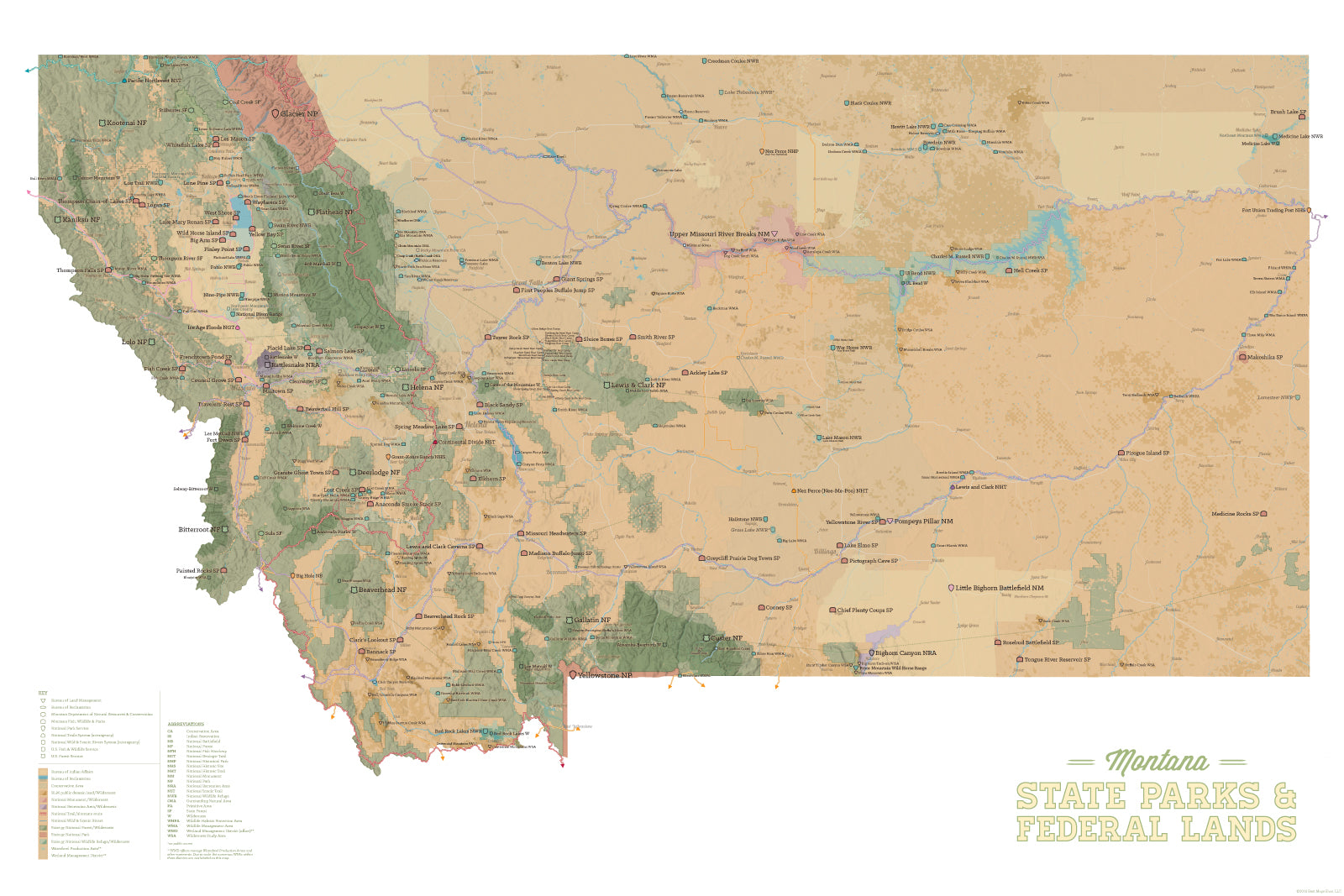 Montana State Parks & Federal Lands Map 24x36 Poster - Best Maps Ever