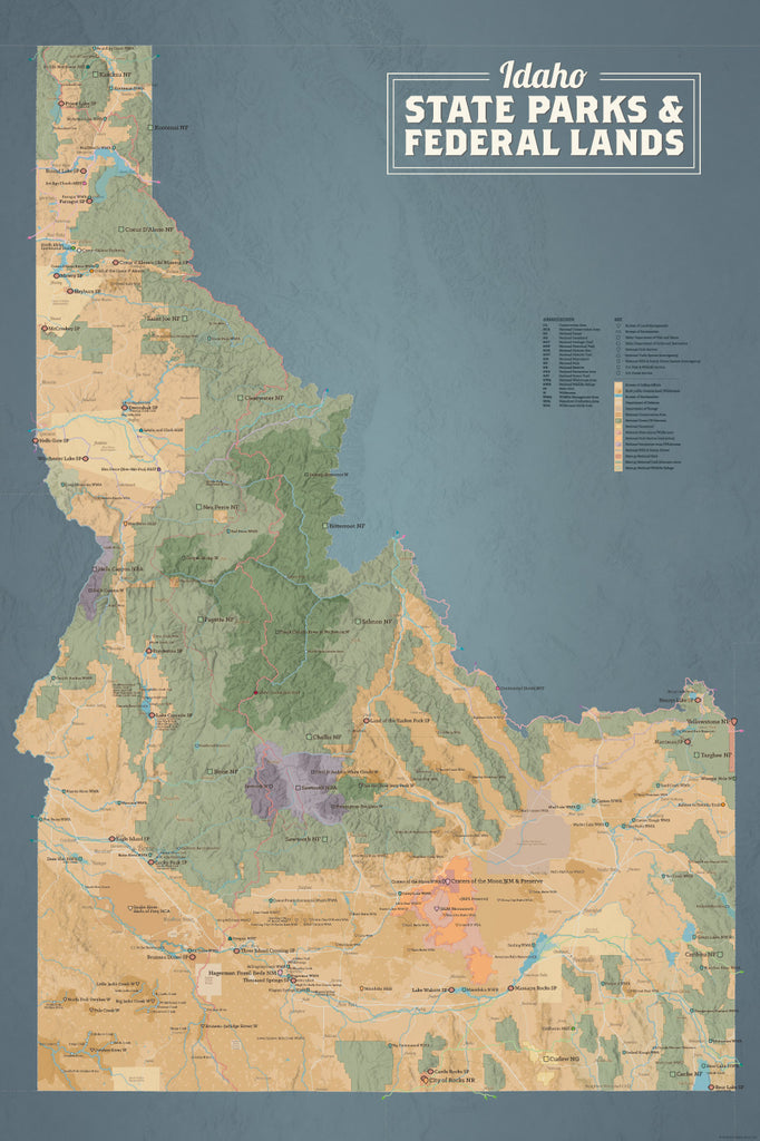 Idaho State Parks & Federal Lands Map Poster - tan & slate blue