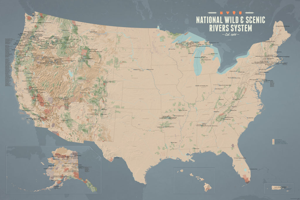 USA National Wild and Scenic Rivers System Map Poster - tan & slate blue