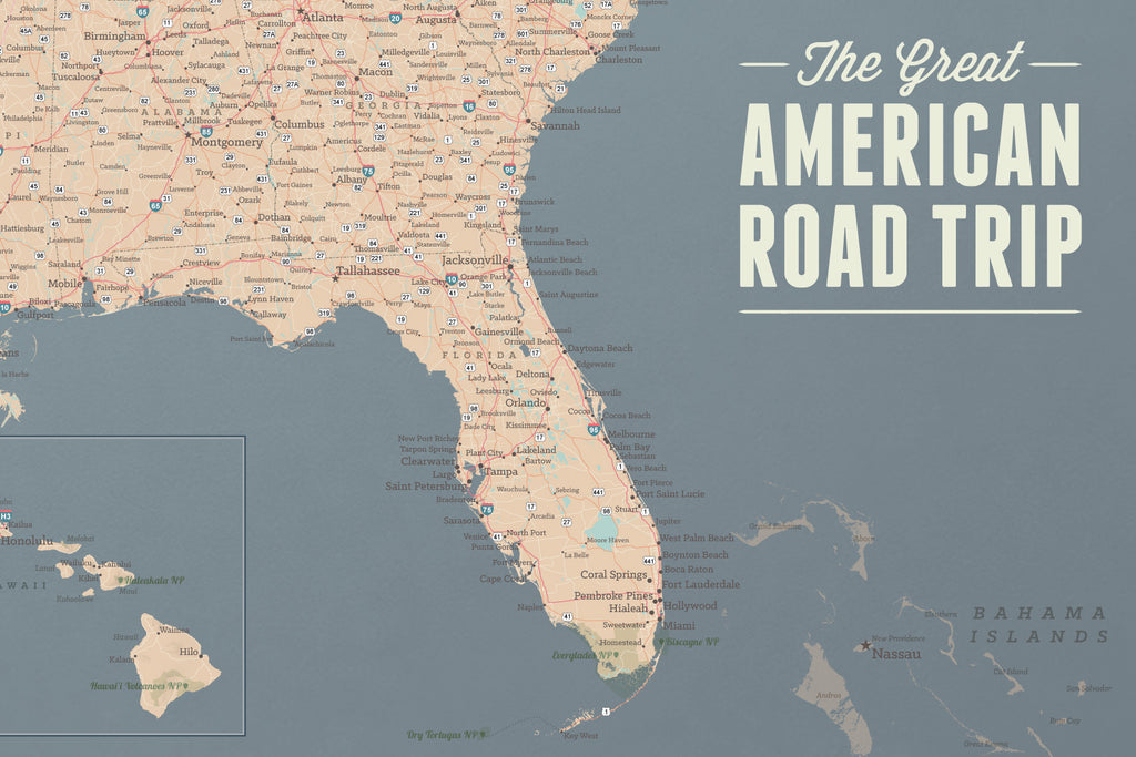 USA Road Trip & Travel Highway Tracing Map - tan & slate blue