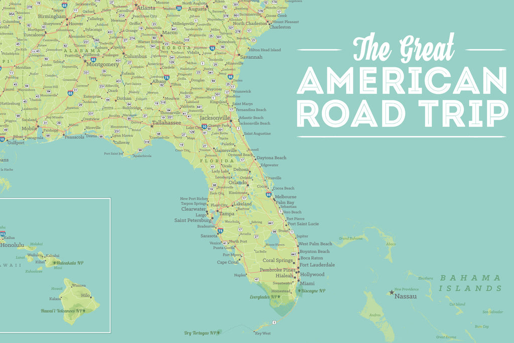 USA Road Trip & Travel Highway Tracing Map - green & aqua