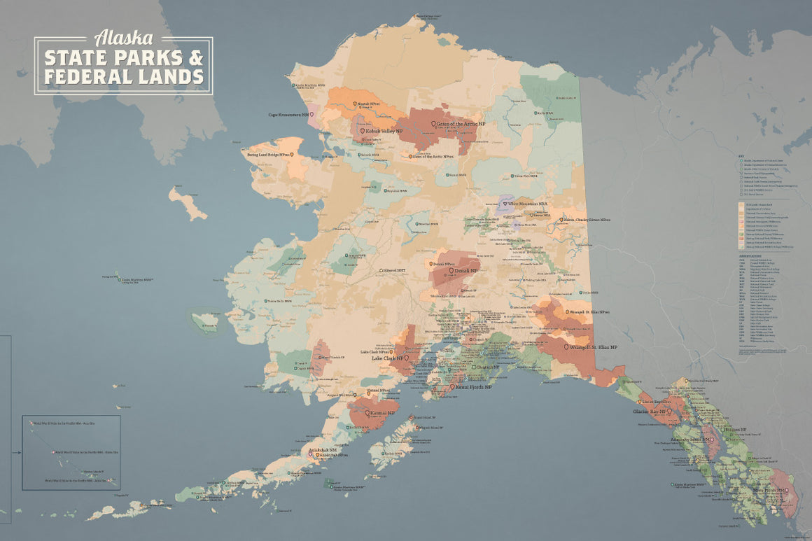 Alaska State Parks & Federal Lands Map Poster - tan & slate blue