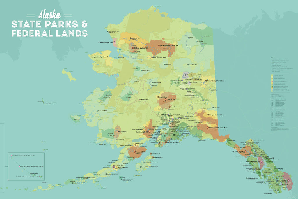 Alaska State Parks & Federal Lands Map Poster - green & aqua