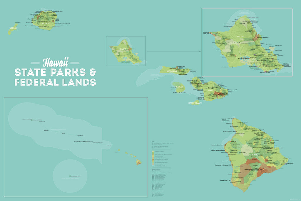 Hawaii State Parks & Federal Lands Map Poster - green & aqua