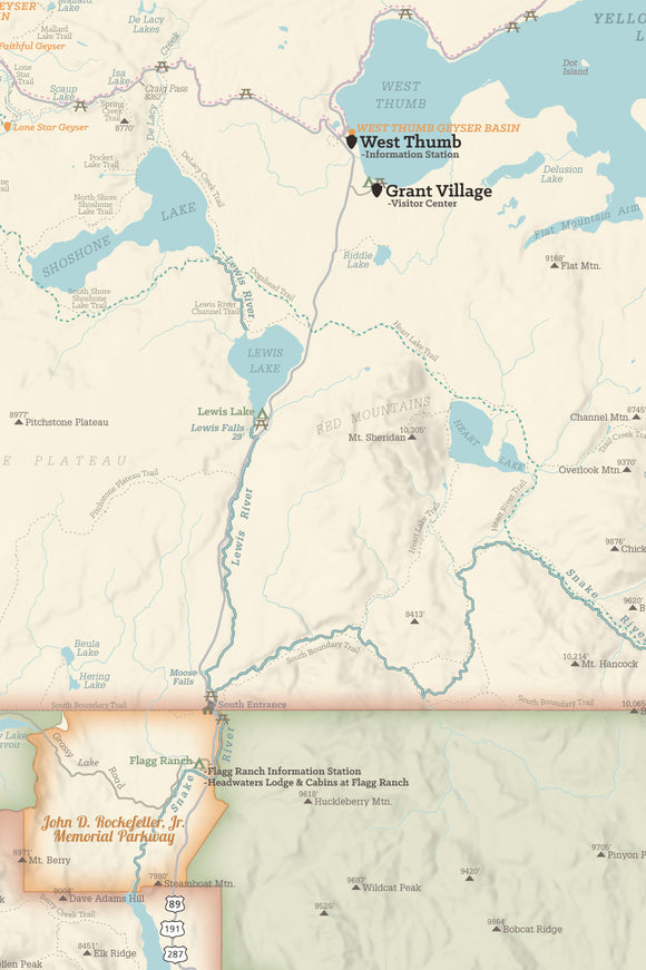 Yellowstone National Park Hiking Trail Wall Map Poster - tan