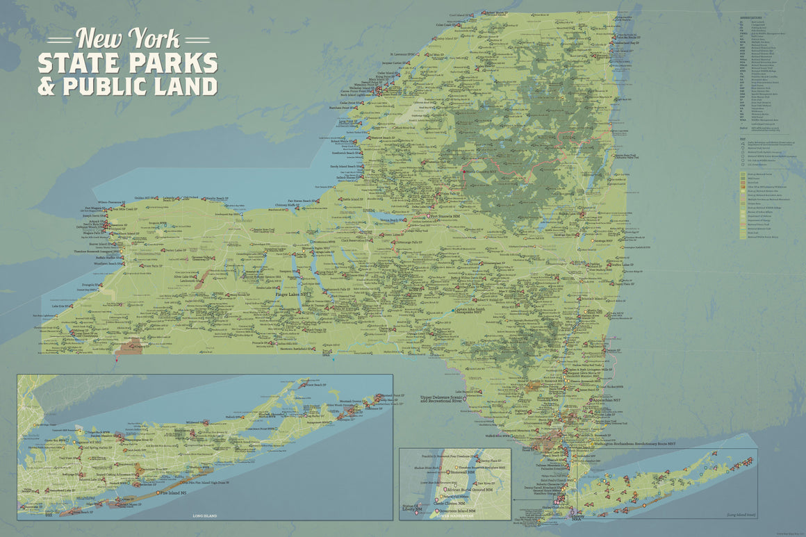 New York State Parks, DEC State Land, National Parks, & Federal Lands Map Poster - natural earth