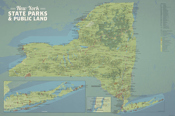 New York State Parks & Public Land Map 24x36 Poster - Best ...