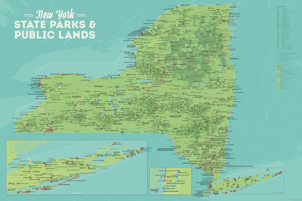 New York State Parks, DEC State Land, National Parks, & Federal Lands Map Poster - green & aqua