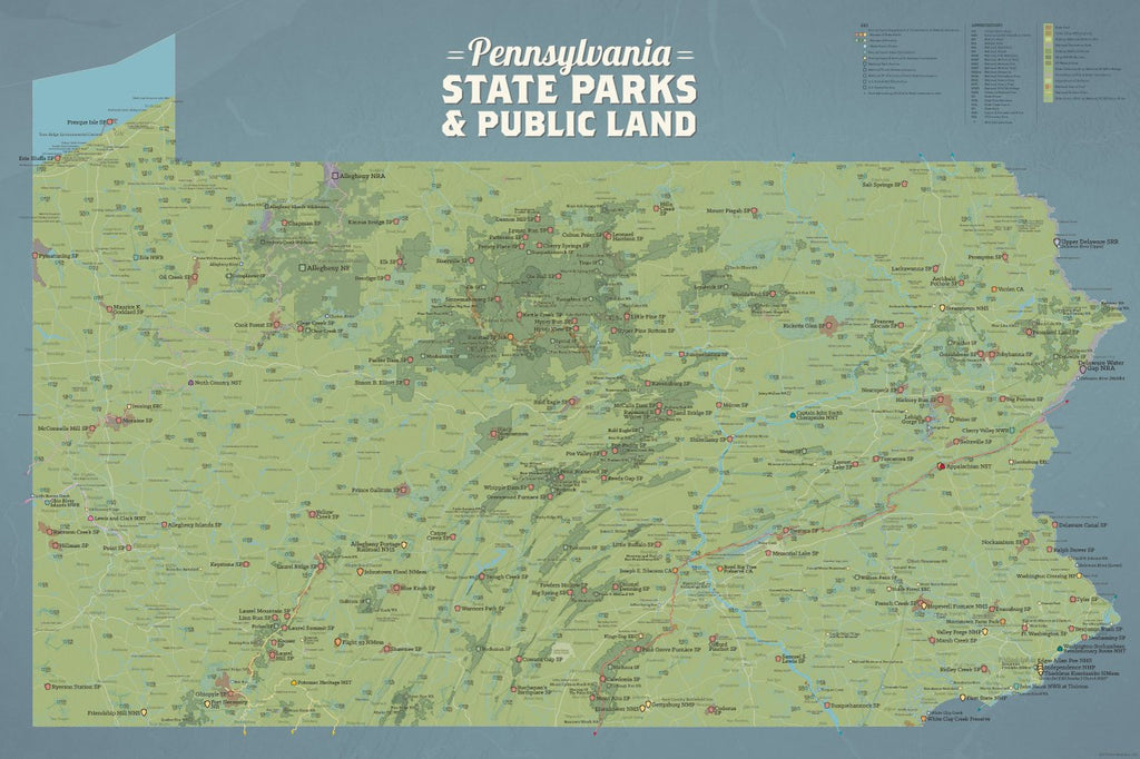 Pennsylvania State Parks, Public Land, Federal/National Lands Map Poster - natural earth