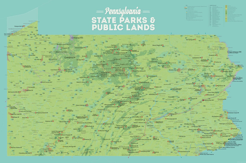 Pennsylvania State Parks, Public Land, National/Federal Lands Map Poster - green & aqua