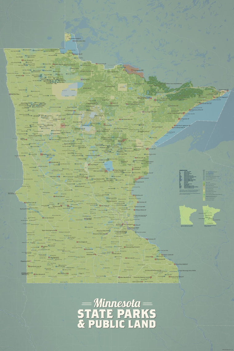 Minnesota State Parks, Federal Lands, Public Land Map Poster - natural earth
