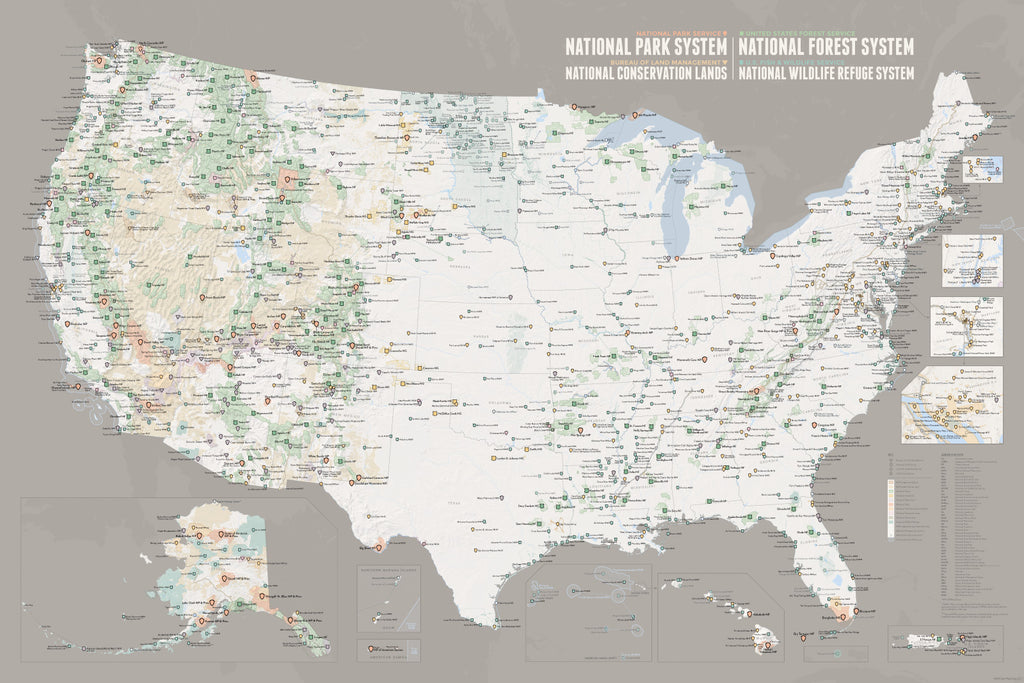 NPS x USFS x BLM x FWS Interagency Map Poster - white & gray