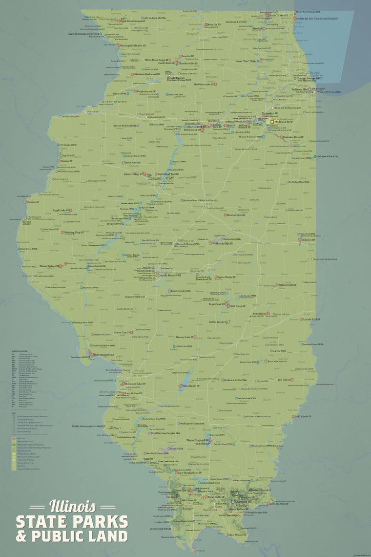 Illinois State Parks, IDNR State Land, Federal Public Lands Map Poster - natural earth