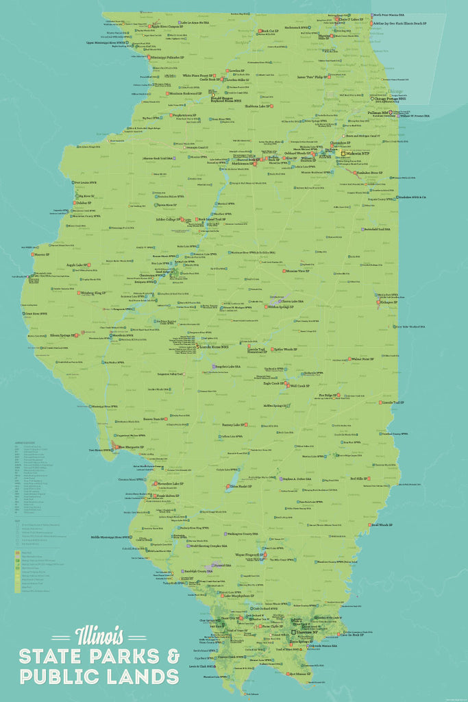 Illinois State Parks, IDNR State Land, Federal Public Lands Map Poster - green & aqua