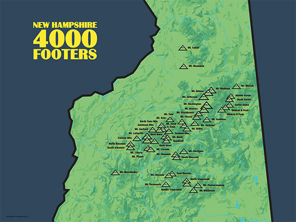 New Hampshire 4000 Footers Map Poster - Green & Navy