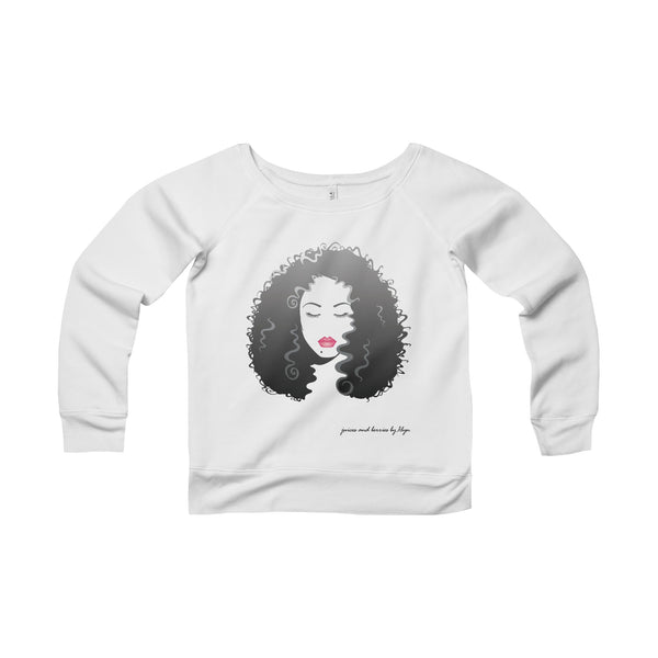 Long Luscious Hair (Women's Sponge Fleece Wide Neck Sweatshirt)