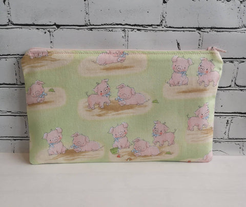 Cute Pig Pencil Case, Farmyard Animals Zip Pouch - The Curious Needle
