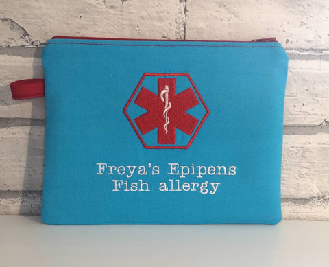 Medical Alert Zip Pouch, Epi Pen, Inhaler Case. Allergy Medication Bag - The Curious Needle