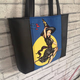 Halloween Tote Bag, Pinup Girls Bag, Witches, Handmade Purse - The Curious Needle