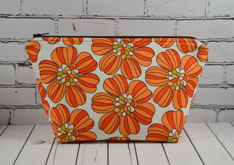 Retro 1970's Inspired Orange Floral Make Up Bag - The Curious Needle