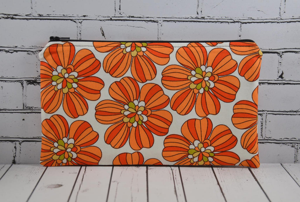 Retro 70's Inspired Orange Floral Pencil Case