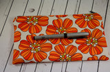 Retro 70's Inspired Orange Floral Pencil Case - The Curious Needle