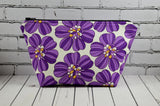 Retro 1970's Inspired Purple Floral Make Up Bag