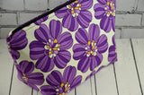 Retro 1970's Inspired Purple Floral Make Up Bag - The Curious Needle